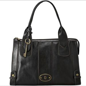 Fossil Vintage Reissue Black Leather Top Zip Tote